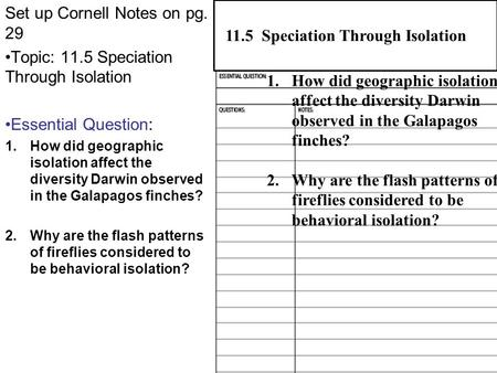 Set up Cornell Notes on pg. 29