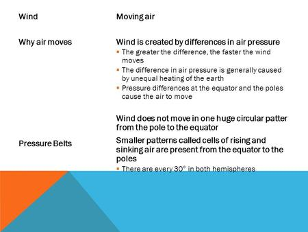 Wind Why air moves Pressure Belts Moving air Wind is created by differences in air pressure  The greater the difference, the faster the wind moves  The.