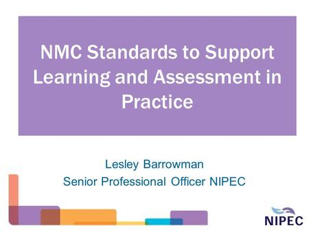 NMC Standards to Support Learning and Assessment in Practice Lesley Barrowman Senior Professional Officer NIPEC.