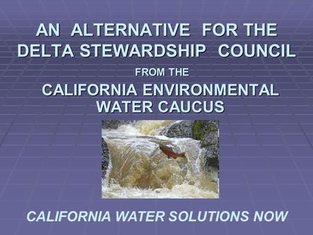 AN ALTERNATIVE FOR THE DELTA STEWARDSHIP COUNCIL FROM THE FROM THE CALIFORNIA ENVIRONMENTAL WATER CAUCUS CALIFORNIA WATER SOLUTIONS NOW.