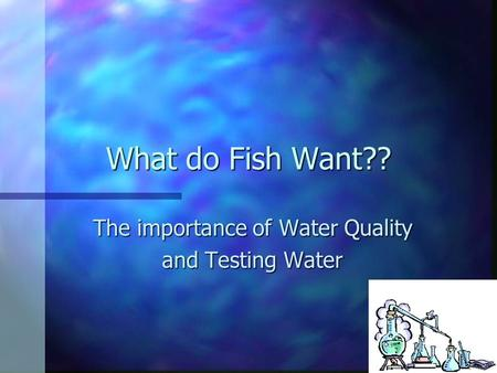 What do Fish Want?? The importance of Water Quality and Testing Water.