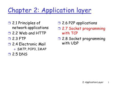 2: Application Layer1 Chapter 2: Application layer r 2.1 Principles of network applications r 2.2 Web and HTTP r 2.3 FTP r 2.4 Electronic Mail  SMTP,