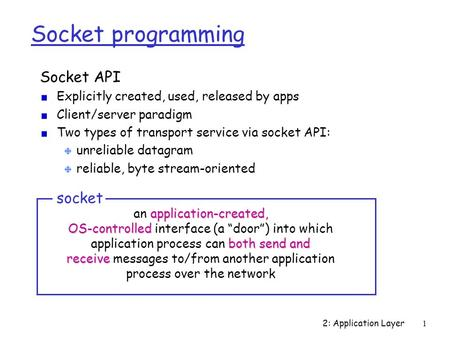 2: Application Layer1 Socket programming Socket API Explicitly created, used, released by apps Client/server paradigm Two types of transport service via.