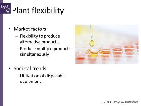 Plant flexibility Market factors – Flexibility to produce alternative products – Produce multiple products simultaneously Societal trends – Utilization.