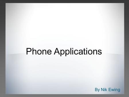 By Nik Ewing Phone Applications. Competition Apple App Store Google Android Market BlackBerry App World Nokia Download!/Ovi Store Palm App Catalog/Software.