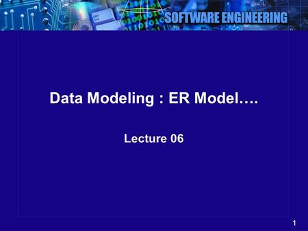 1 Data Modeling : ER Model…. Lecture 06. 2 Summary so for …. ER Model Entity, Attribute, Key Relationships Instance Diagram.