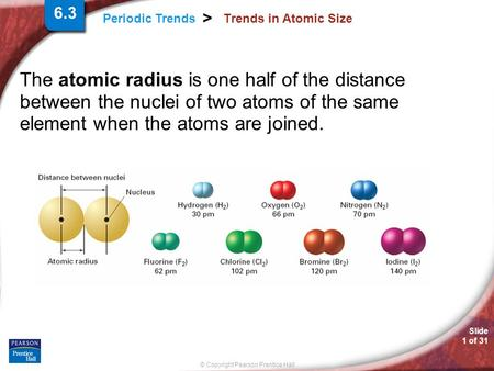 Slide 1 of 31 © Copyright Pearson Prentice Hall Periodic Trends > Trends in Atomic Size The atomic radius is one half of the distance between the nuclei.