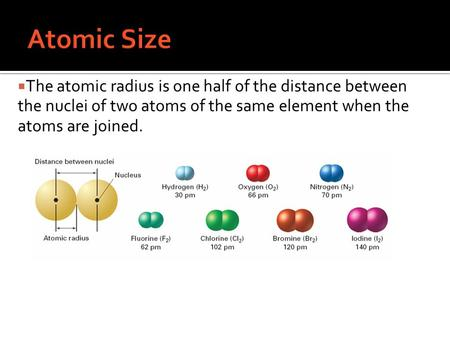Atomic Size The atomic radius is one half of the distance between the nuclei of two atoms of the same element when the atoms are joined.