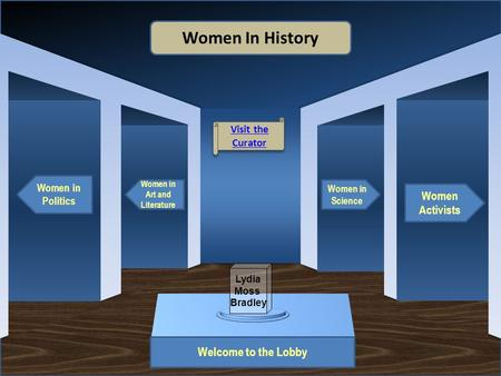 Museum Entrance Welcome to the Lobby Women in Politics Women in Art and Literature Women Activists Women in Science Women In History Visit the Curator.