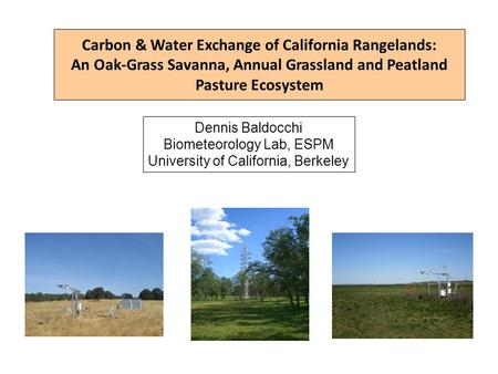 Carbon & Water Exchange of California Rangelands: An Oak-Grass Savanna, Annual Grassland and Peatland Pasture Ecosystem Dennis Baldocchi Biometeorology.