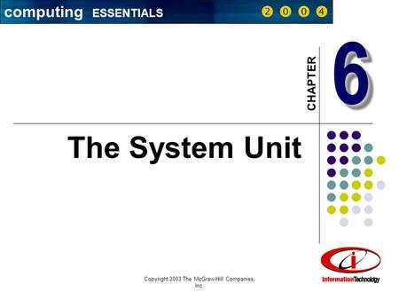 Copyright 2003 The McGraw-Hill Companies, Inc. 1 66 CHAPTER The System Unit computing ESSENTIALS    