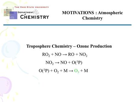 MOTIVATIONS : Atmospheric Chemistry Troposphere Chemistry – Ozone Production RO 2 + NO → RO + NO 2 NO 2 → NO + O( 3 P) O( 3 P) + O 2 + M → O 3 + M.