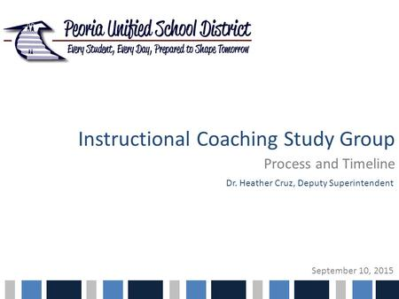 Instructional Coaching Study Group Process and Timeline Dr. Heather Cruz, Deputy Superintendent September 10, 2015.