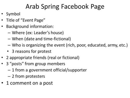 "Arab Spring Facebook Page Symbol Title of ""Event Page"" Background information: – Where (ex: Leader's house) – When (date and time-fictional) – Who is organizing."
