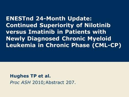 ENESTnd 24-Month Update: Continued Superiority of Nilotinib versus Imatinib in Patients with Newly Diagnosed Chronic Myeloid Leukemia in Chronic Phase.