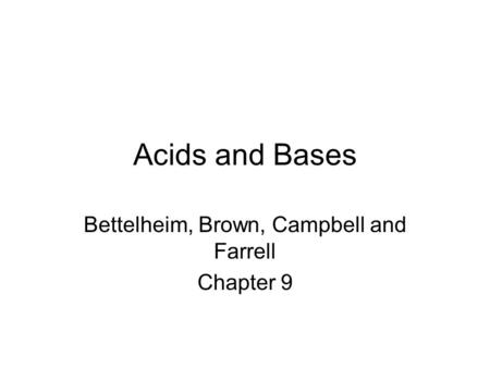 Bettelheim, Brown, Campbell and Farrell Chapter 9
