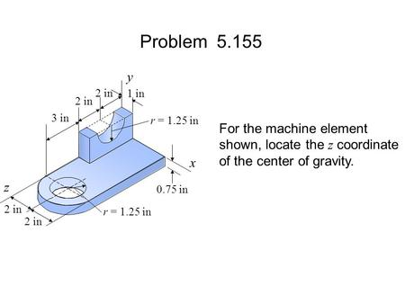 Problem y For the machine element shown, locate the z coordinate
