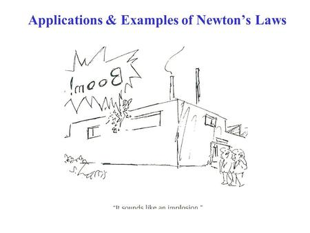 Applications & Examples of Newton's Laws. Forces are VECTORS!! Newton's 2 nd Law: ∑F = ma ∑F = VECTOR SUM of all forces on mass m  Need VECTOR addition.