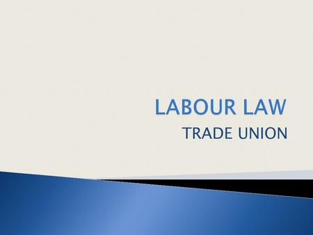 TRADE UNION. 1 Explain the background, the rights to unionism, and the law that govern trade union (C2) 2 Discuss the roles and responsibilities of trade.