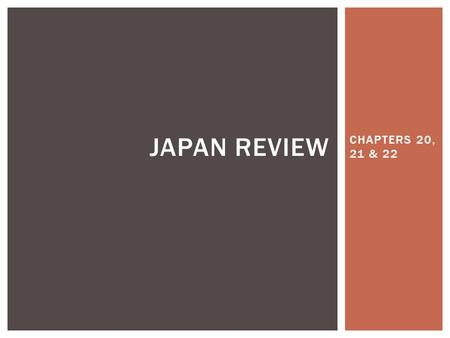 CHAPTERS 20, 21 & 22 JAPAN REVIEW. DEFINE: CULTURAL DIFFUSION.
