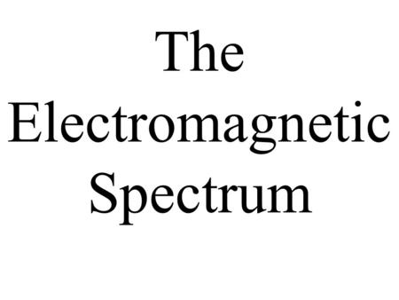 The Electromagnetic Spectrum. What is a wave? A wave is made when particles move up and down.