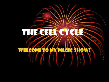 The Cell Cycle WELCOME TO MY MAGIC SHOW!. First, I am going to make a very small ball turn into a larger ball. Then, I am going to make the larger ball.