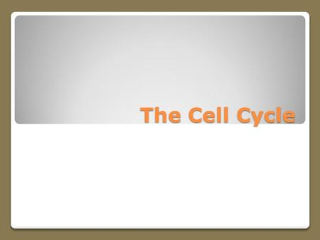 The Cell Cycle. Life Cycle of a Cell Before a growing cell becomes too large it divides The division results in two essentially identical cells called.