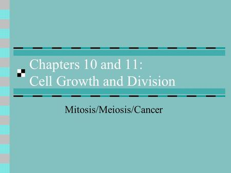 Chapters 10 and 11: Cell Growth and Division Mitosis/Meiosis/Cancer.