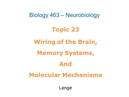 Topic 23 Wiring of the Brain, Memory Systems, And Molecular Mechanisms Lange Biology 463 – Neurobiology.