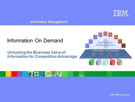 ® Information Management © 2007 IBM Corporation Information On Demand Unlocking the Business Value of Information for Competitive Advantage.