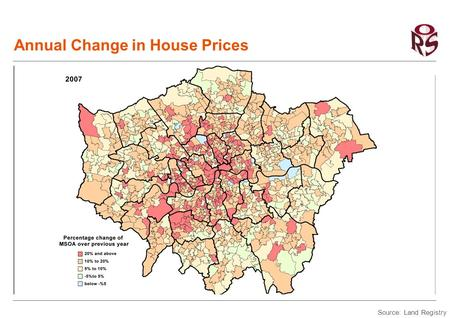 Annual Change in House Prices Source: Land Registry.