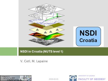 UNIVERSITY OF ZAGREB FACULTY OF GEODESY 2009-02-05 V. Cetl, M. Lapaine NSDI in Croatia (NUTS level 1)