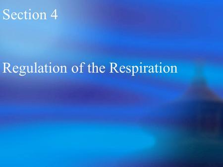 Section 4 Regulation of the Respiration. I.Respiratory Center and Formation of the Respiratory Rhythm 1 Respiratory Center.