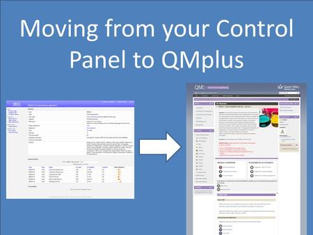 Moving from your Control Panel to QMplus. Module description.