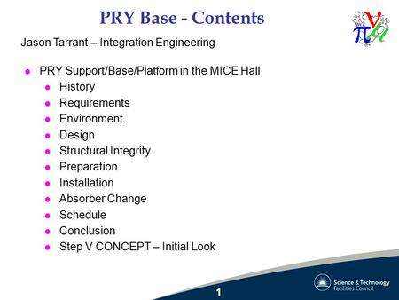 PRY Base - Contents l PRY Support/Base/Platform in the MICE Hall l History l Requirements l Environment l Design l Structural Integrity l Preparation l.