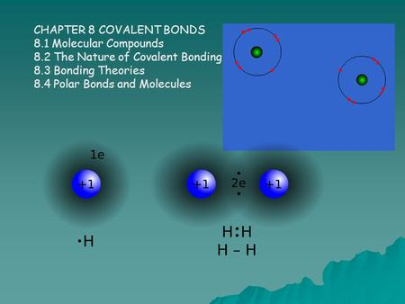CHAPTER 8 COVALENT BONDS 8.1 Molecular Compounds 8.2 The Nature of Covalent Bonding 8.3 Bonding Theories 8.4 Polar Bonds and Molecules.