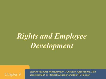Rights and Employee Development
