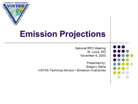 Emission Projections National RPO Meeting St. Louis, MO November 6, 2003 Presented by: Gregory Stella VISTAS Technical Advisor – Emission Inventories.