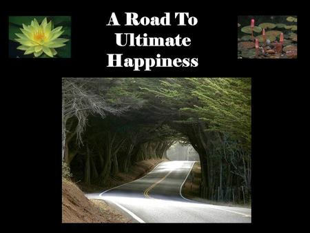 1 A Road To Ultimate Happiness. 2 The Ultimate Happiness is NIRVANA the unconditioned state of Perfect Peace, Perfect Wisdom Perfect Freedom.