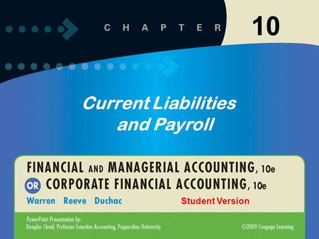 10 Current Liabilities and Payroll Student Version.