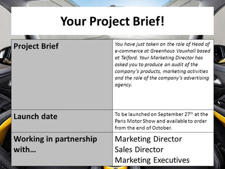Your Project Brief! Project Brief You have just taken on the role of Head of e-commerce at Greenhous Vauxhall based at Telford. Your Marketing Director.