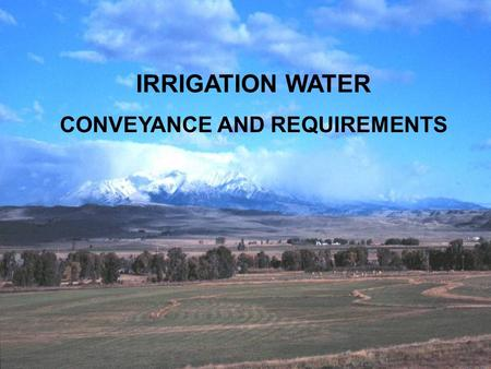 IRRIGATION WATER CONVEYANCE AND REQUIREMENTS. WHAT HAPPENS AFTER DIVERSION? ? ? ? ? ? ? ?