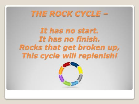 THE ROCK CYCLE – It has no start. It has no finish. Rocks that get broken up, This cycle will replenish! THE ROCK CYCLE – It has no start. It has no finish.