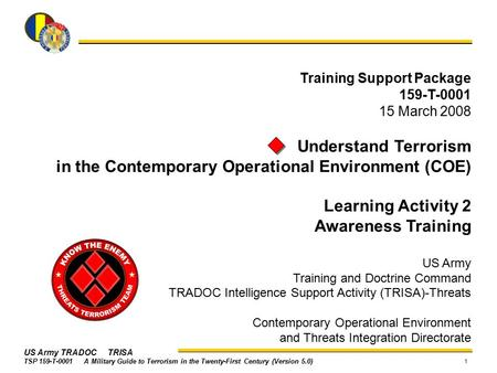 in the Contemporary Operational Environment (COE) Learning Activity 2
