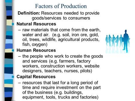 Factors of Production Definition: Resources needed to provide goods/services to consumers Natural Resources –raw materials that come from the earth, water.