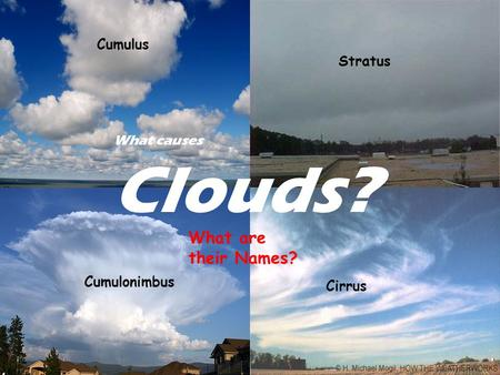 What causes Clouds? What are their Names? Cumulus Stratus Cumulonimbus Cirrus.