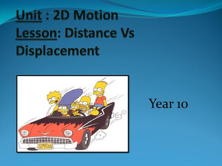 Unit : 2D Motion Lesson: Distance Vs Displacement