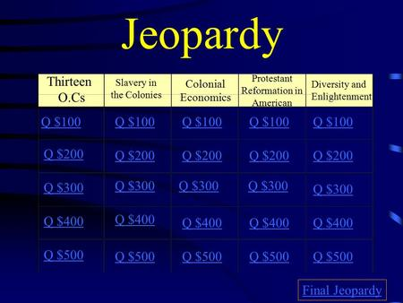 Jeopardy Thirteen O.Cs Slavery in the Colonies Protestant Reformation in American Diversity and Enlightenment Q $100 Q $200 Q $300 Q $400 Q $500 Q $100.