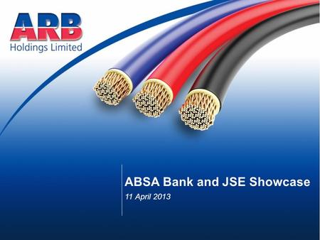 ABSA Bank and JSE Showcase 11 April 2013. Largest independent electrical distributor in Sub-Saharan Africa Focused on electrical and lighting products.