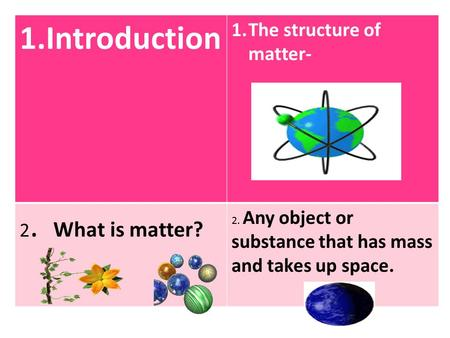 1.Introduction 1.The structure of matter- 2. What is matter? 2. Any object or substance that has mass and takes up space.
